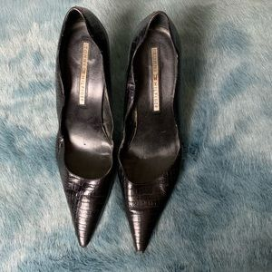 Tommy Hilfiger black crocodile leather heels